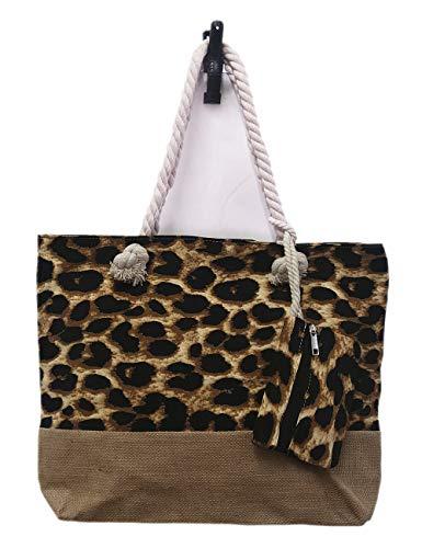 Lolita Shopper Handtasche Schlange Leoparden Muster mit Mini Tasche Strand Beach Bag (Leo Dunkelbraun)