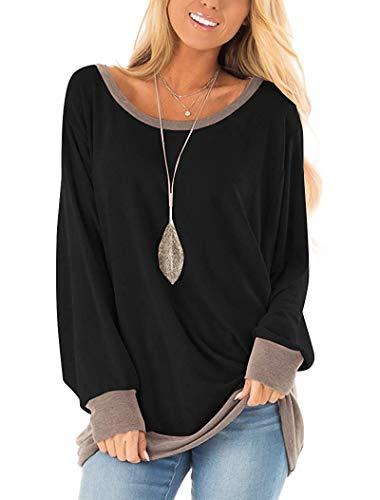 Yidarton Damen Sweatshirt Casual Farbblock Langarmshirt Rundhals Pulli Bluse Top Pullover Oberteile (338-schwarz, XX-Large)