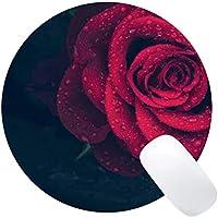 Yanteng Cojín de ratón Redondo de Caucho Natural Impreso con Rosa roja - Bordes cosidos