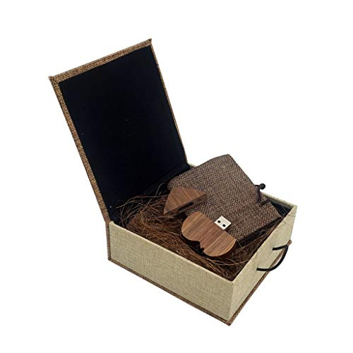 Herz USB Speicherstick LUCKCRAZY 16GB Wooden USB Sticks Holz Speicher Stick Pendrive Heart Memory Flash Drive mit Verpackungs Box für Kollegen Kind Freunde Eltern
