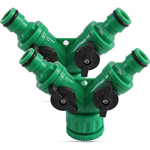 SUNSK 2-Wege-Ventil mit Absperrventil für Gartenschläuche Schlauchkupplung Doppel Anschluss Gartenschlauch Wasserverteiler für Wasserhahn 1/2 und 3/4 Zoll Hose Connector 2 Stücke