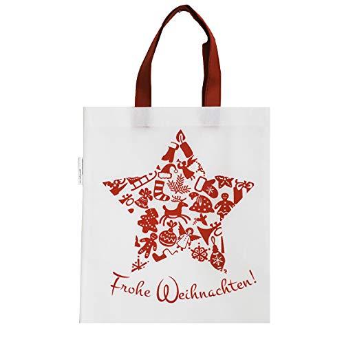 1x Einkaufstasche Motiv Frohe Weihnachten | 38 x 42 cm | Polypropylen | PP-Non-Woven-Tasche | Vliestasche | Stofftasche | Tragetaschen | Tüten | Verpackung
