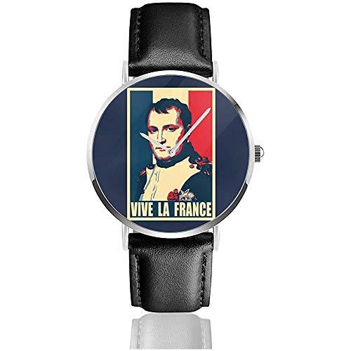 Napoleon Vive Le France Uhren Quarzlederuhr mit schwarzem Lederband für Sammlungsgeschenk