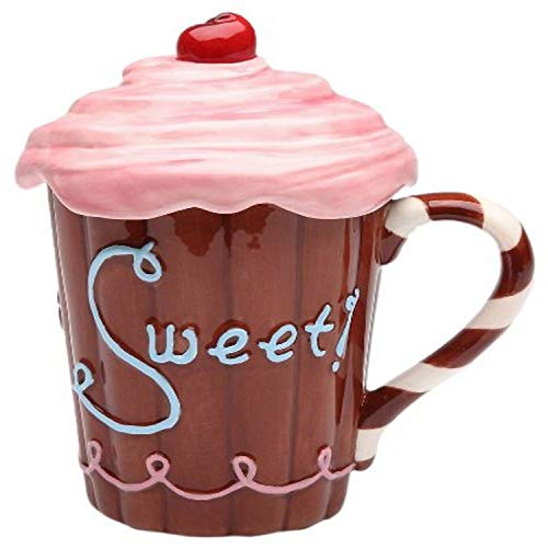 Appletree Design Life Is Sweet Mug with Pink Lid, 5-3/4-Inch