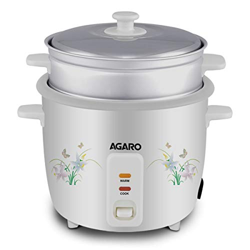 AGARO Supreme Pro Electric Rice Cooker 1-Litre with Steamer Tray (White)