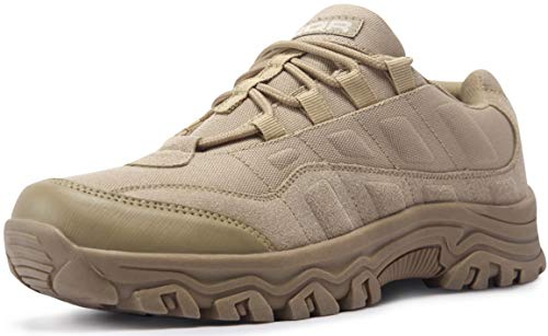 CQR Men's Outdoor Hiking Shoes, Lightweight Low-Top Trail Walking Shoes, Military Utility Work Tactical Shoes, Tac Shoes(bl203) - Sand, 12