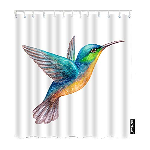 AOYEGO Bird Shower Curtain Set Watercolor Tropical Exotic Flying Humming Birds Shower Curtain 72x72 Inch Decorative Waterproof Polyester Fabric with Hooks