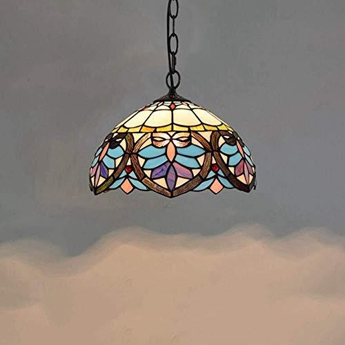 QIURUIXIANG -Luz de techo, Lámpara de interior Tiffany-Style Colgante de la Luz, Azul Amor Pantalla de Vidrieras Bellamente Decorado Para Cocina Sala Dormitorio Sótano Loft Cafe Araña (30Cm)