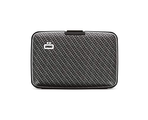 �gon Designs - Stockholm Aluminium Wallet - RFID Blocking Card Holder - Up to 10 Cards, and Banknotes - Carbon Effect / Large Weave