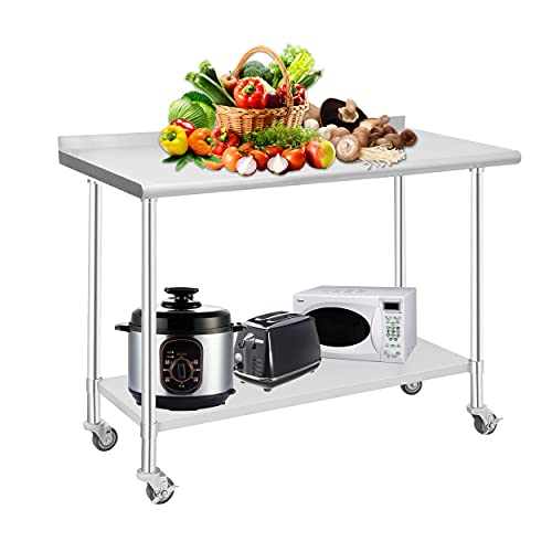 HOCCOT Stainless Steel Prep & Work Table with Adjustable Shelf, with Backsplash and Wheels, Kitchen Island, Commercial Workstations, Utility Table in Kitchen Garage Laundry Room Outdoor BBQ, 24' X 48'