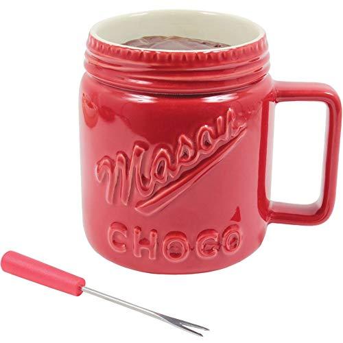 Amatable 39-2K-003 - Tazza per fonduta al cioccolato con candela e forchetta, in ceramica, 15 x 16,6 cm, colore: Rosso