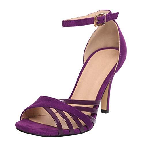 Riemchen Sandaletten High Heels Knöchelriemchen Sandalen mit Absatz 8cm Elegant Abend Sommer Schuhe(Lila,38)