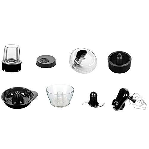 Zubehör Set für Küchenmaschine MIX18 H.Koenig - Dieses Set enthält 1 Schneebesen, 1 Mahlwerk/Mixer, 1 Zitruspresse, 1 Entsafter