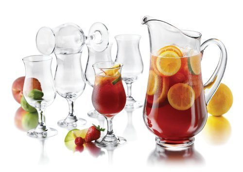 Libbey Modern Bar Sangria Entertaining Set with 6 Stemmed Glasses and Pitcher