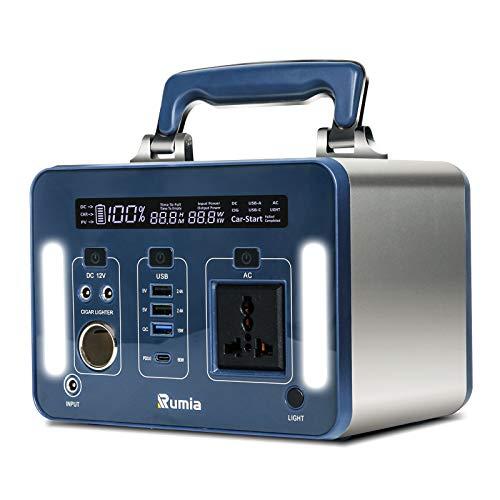 Rumia ポータブル電源 300W ポータブル発電所 (ピーク1200W) 300Wh屋外ソーラー発電機、ファンレス設計、ノイズなし、アルミニウムシェル、デジタル表示LEDディスプレイ、実際の出力から残りの使用時間を計算します、300W純粋な正弦波ACコ
