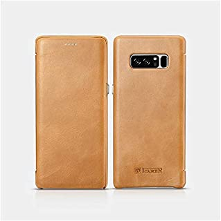 Icarer Curved Edge Case For Samsung Note 8 Genuine Cowhide Leather Vintage Series, Light Brown