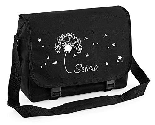 Mein Zwergenland Messenger Bag Pusteblume, Dandelion 14 L, schwarz