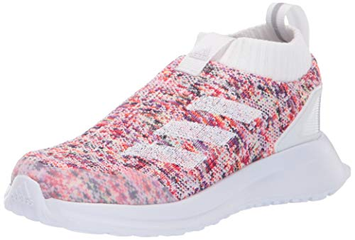 Price comparison product image adidas Unisex-Kid's RapidaRun Laceless Knit Running Shoe,  White / White / Grey,  4 M US Big Kid