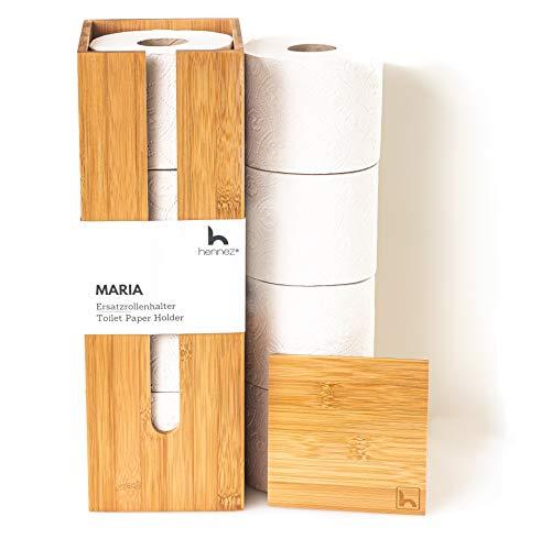 HENNEZ Toilettenpapier Aufbewahrung, Klopapier Aufbewahrung, Ersatzrollenhalter Toilettenpapier, Toilettenpapierhalter stehend, Klopapierhalter stehend, Klorollenhalter stehend, Klorollenaufbewahrung