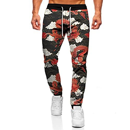 BLACKHEI Pantalones de dragón chino de impresión 3D casual Streetwear hombres mujeres oversize jogging pantalones, Tta24-52, 6XL