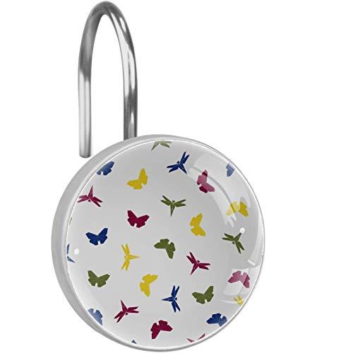 Ganchos para Cortina de Ducha (12 Piezas) Anillos de Cortina de Ducha Decorativos antioxidantes Ganchos,Origami Insectos Voladores Mariposa Resumen