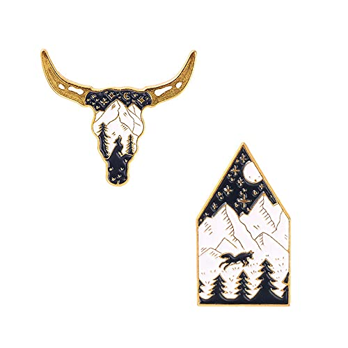 2Pcs Alloy Brooch Badge Pins Set Creative Outdoor Night View Pins for DIY Backpacks Hats Cowboy Jackets Jewelry Student Toys Gifts
