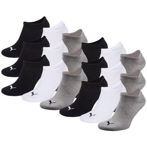PUMA Unisex Sneakers Socken Sportsocken 18er Pack (grey / white / black, 39-42)