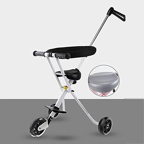 XHSLC Trikes 3 wielfiets kinderwagen driewieler baby vouwen 2-6 jaar oude kind auto met verstelbare drukknop handvat (kleur: blauw)