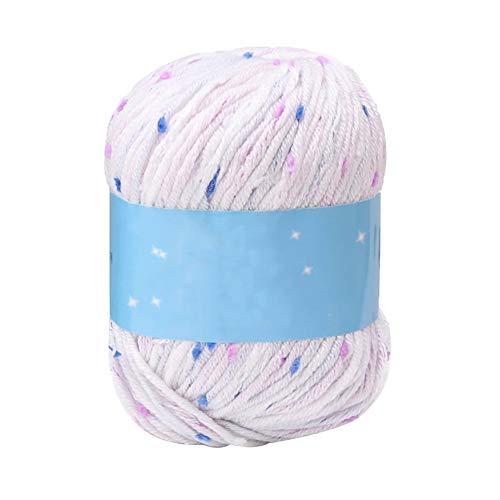 Dyyicun12 wollen garen, 50 g punten breien naaigaren sjaal pullover hoed haakwerk DIY wolgaren (1 bal) wit