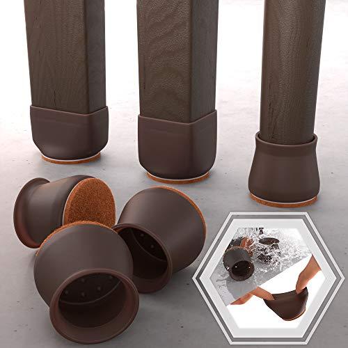 Stuhlbein-Bodenschoner aus dunklem Walnussholz, mit Filzpolstern – 16 Stück Silikon-Filz Stuhlbeinkappen Schützen Sie Ihre Möbel und Böden vor Kratzern mit Möbelfüßen, Bodenschoner.