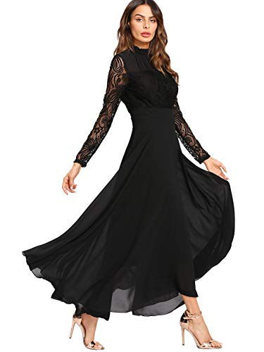 Soly Hux Damen-Kleid, langärmlig, fließend aus Spitze, kontrastierend, Maxi-Kleid, Plissee-Kleid, mit Ärmeln, Laterne, Rüschen, Party,...