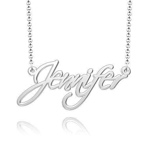Moonlight Collections Custom Cursive Name Necklace Personalized Gift for Women Sterling Silver Nameplate - Jennifer Necklace