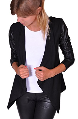 Damen Sexy Langarm Cardigan Trendy Mantel mit Lederärmel Sexy Kap Grau Schwarz S M L XL (XL, Schwarz) (165} … (M, Schwarz)