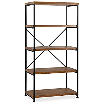 Best Choice Products 5-Tier Rustic Industrial Bookshelf Display Décor Accent for Living Room Bedroom Office w/Metal Frame Wood Shelves - Brown