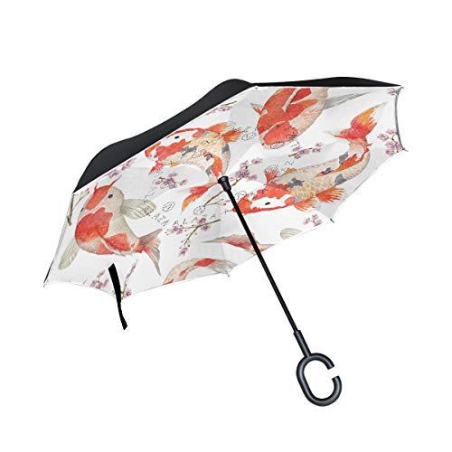 Mr. Lucien 2020421 Paraguas invertido con diseño de Oso Q versión de Dibujos Animados, Doble Capa Invertida Resistente al Viento, con Mango en Forma de C para Uso en el Exterior del Coche