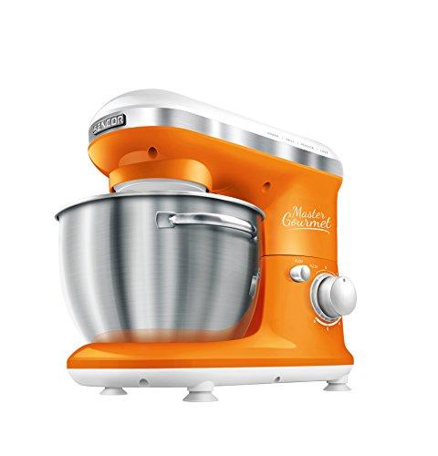 Sencor STM 3623OR Robot da Cucina con Ciotola da 4 Litri, Capacita Impasto 1.6 Kg, Arancione