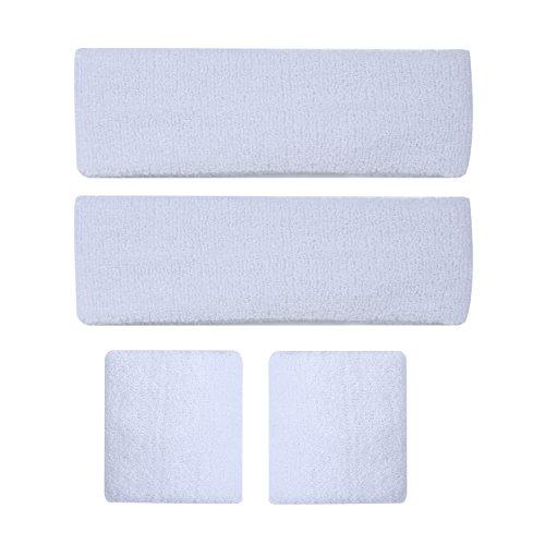 Wishdeal Sport Schweißband Set für Laufen Jogging Fußball Tennis - 2 Stirnband und 2 Handgelenk Schweißbänder (Weiß)