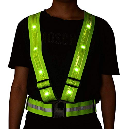 Kicsto LED Reflective Vest,High Visibility Safety Vest, USB Rechargeable Reflective Gear Form for Runner, Cyclist, Walker, Dog Walker, Motorcyclist and Marathon Runner Gift. (Green)