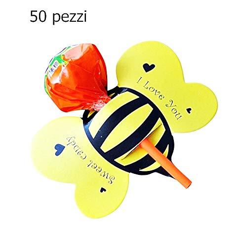 Bijenlollyhouder - lolly - papier - geschenken - chupa chups - feest - einde - kinderen - verjaardag - origineel cadeau-idee - pak van 50