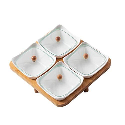 Recipiente para condimentos, Plato de cerámica Cuadrado Separado con Bandeja de bambú Plato para refrigerios Sala de Estar Bandeja de Frutas secas para el hogar