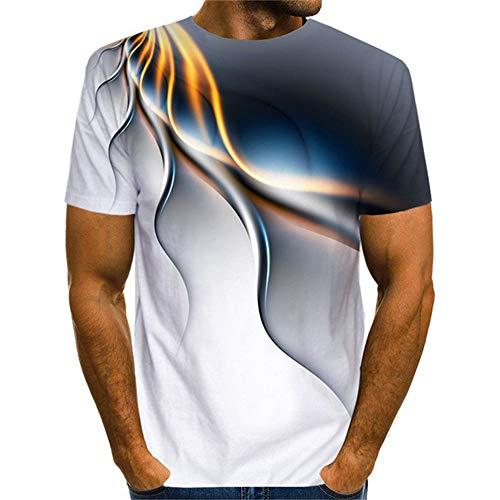 Kipeee T-Shirts HerrenT-ShirtKurzarm 3D-Gedruckt EinzigartigesT-Shirt Lose O-Ausschnitt Sommer Herrenbekleidung,3,Kindergröße 120 cm