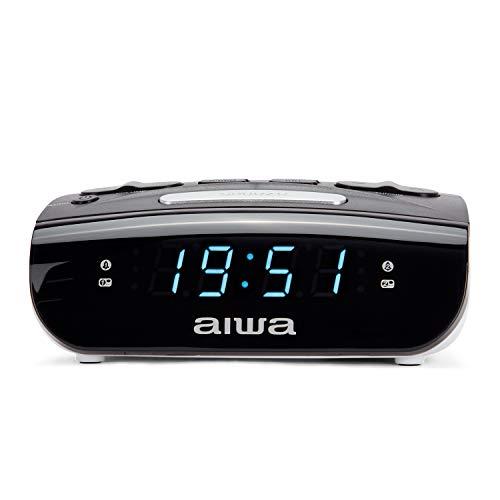 Aiwa CR-15: Radio Reloj Despertador, Pequeño, con función Snooze & Sleep, Despertador por Radio o Alarma