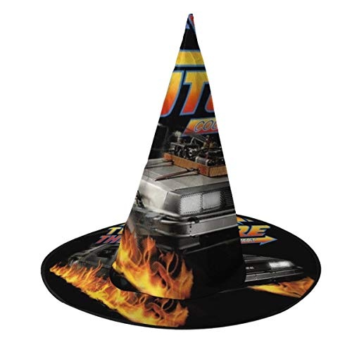 OJIPASD Delorean Countdown Back To The Future Sombrero de Bruja Halloween Unisex Disfraz para da Festivo Halloween Navidad Carnaval Fiesta