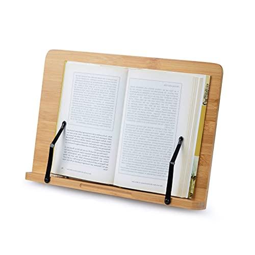 FOCCTS 34.1*24cm,Soporte de Bambú Ajustables Ideal para Leer, Ver Videos, Estudiar,Sostener,Libros de Cocina,Notas Musicales,IPad y Tablet