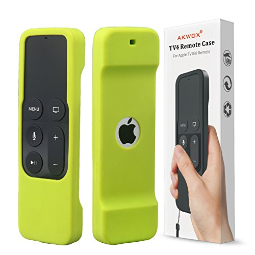 Remote Case for Apple Tv 4th/4K 5th Generation, Akwox Light Weight [Anti Slip] Shock Proof Silicone Remote Cover Case with Lanyard (Green) - not for Series 6 Gen 2021