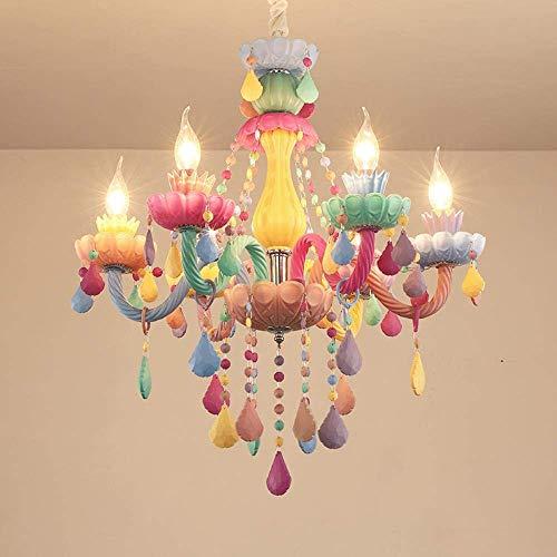 ZCZZ Candelabros de Macaron Europeos Habitación para niños Dormitorio Lámpara de Cristal Red de iluminación Princesa Chica Red Cafe Restaurante Candelabro, 8 + 4 D85 * H92CM, Lujo (una Taza de FL