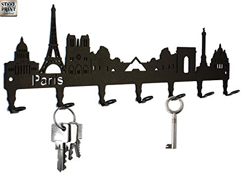 Titular de la clave/gancho Skyline Paris   Francia clave ganchos para pared, colgador   7 ganchos negro Metal