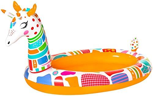 Aufblasbarer Pool Giraffe Planschbecken mit Wasser-Sprinkler Sprüh Kinderpool mehrfarbige Swimmingpool für Baby Kinder Garten Terrasse mit Wasserspielzeug Wasserball 266 x 157 x 127 cm