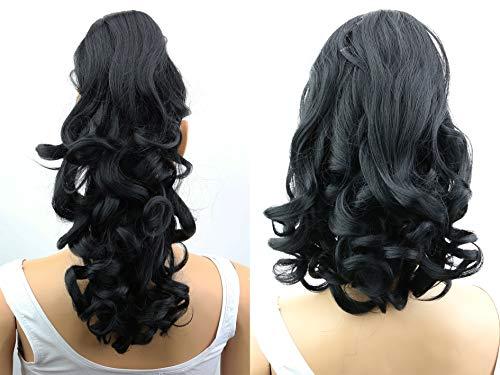 PRETTYSHOP 2 IN 1 30cm Und 40cm Haarteil Zopf Pferdeschwanz Haarverlängerung Voluminös Gewellt Schwarz H1-2