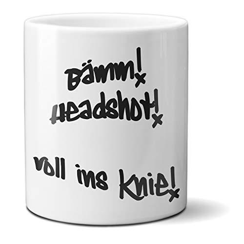 HAPPY FREAKS Spruch-Tasse 'Bämm Headshot' - Klassischer weißer Kaffeebecher aus Keramik